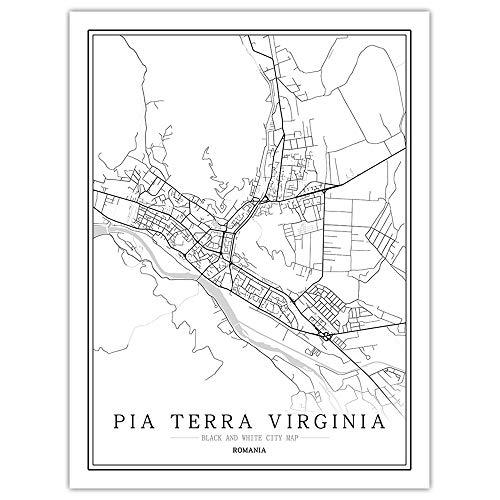 SLYBDA Minimalistyczna linia artystyczne nadruki linia sztuka ścienna plakat obraz wodoodporny czarny biały Rumunia Pia Terra Wirginia mapa miasta estetyczny rysunek obrazy do sypialni salonu dekoracja 60 x 80 cm