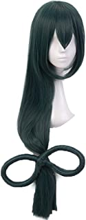 Anogol Hair Cap+Anime Cosplay Wig Dark Green Long Straight Synthetic Hair With Bow Wigs For Women Costume