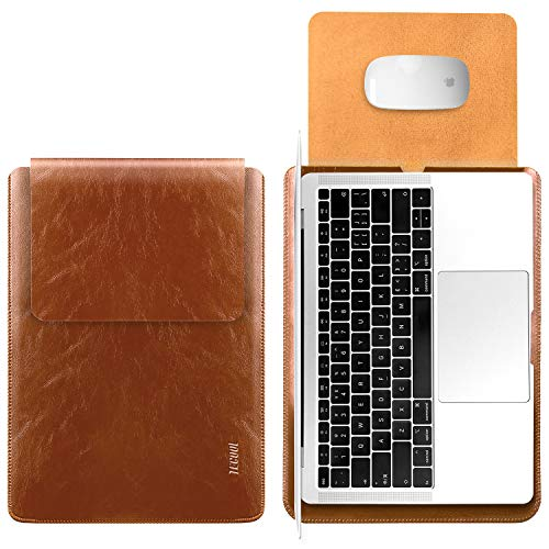 TECOOL Laptop Hülle 13,3 Zoll Tasche,Wasserdicht Laptop Sleeve Kunstleder Schutzhülle Hülle für MacBook Air 13/MacBook Pro 13, 13.5