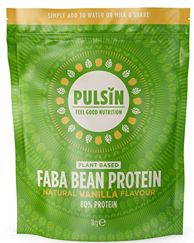 Pulsin Faba Bean Protein Powder - Natural Vanilla Flavour, 80% Protein, Gluten-Free, Low Sugar, All Natural, Vegan Whey Protein Alternative - 1kg Pack