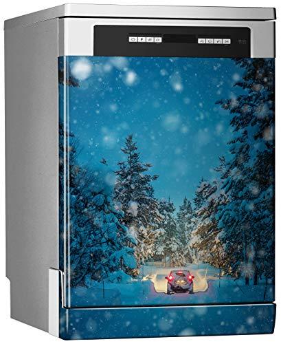 Megadecor decoratief vinyl voor vaatwasser, afmetingen standaard: 67 cm x 76 cm, winterrit in de nacht