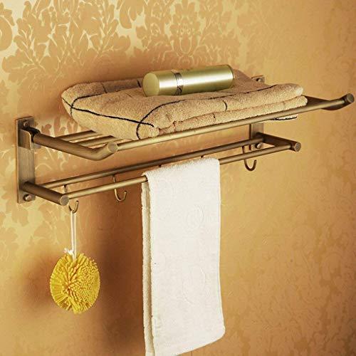 MUZILIZIYU Estante de baño Pared Colgante Plegable Cobre Alambre Dibujo Toalla Estante Toalla Bar baño Suministros Almacenamiento Estante