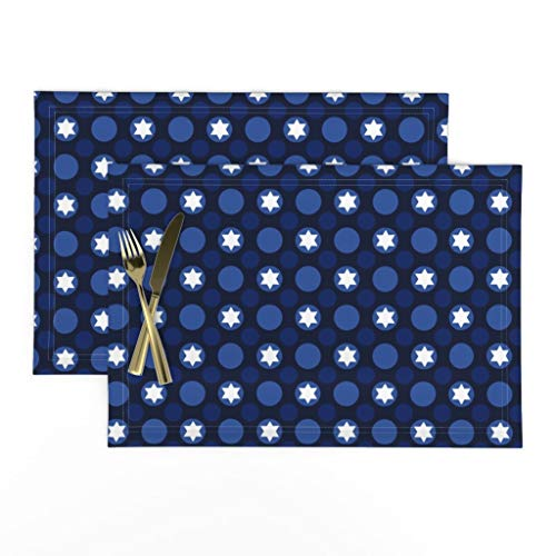 Roostery Cloth Placemats, Hanukkah Star of David Jewish Jewish Holidays Hanukkah Festival of Lights Chrismukkah Print, Linen-Cotton Canvas Placemats, Set of 2