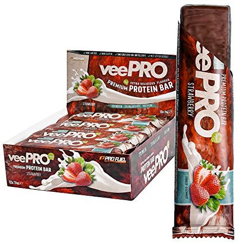 Vegane Proteinriegel veePRO | 20 g Eiweiß, 23% Ballaststoffe | Low Carb Eiweißriegel | Leckerer Protein-Snack, milchfreier Schokoladenmantel, Fitness- und Sportnahrung – 12 Riegel - ERDBEERE