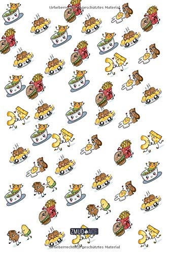 Liniertes Notizbuch - Doodle Essen Bacon Nudeln Muster: in DIN A5 Softcover | Notizbuch mit persönlichem Register + Seitenzahlen | Tagebuch, ... Schulheft, Notizheft zum Selbstgestalten