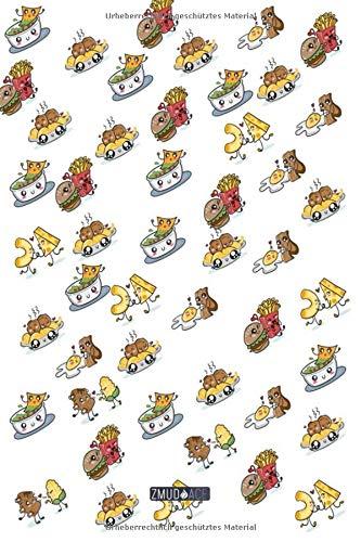 Blanko Notizbuch - Doodle Essen Bacon Nudeln Muster: in DIN A5 Softcover | Notizbuch mit persönlichem Register + Seitenzahlen | Tagebuch, Skizzenbuch, ... Malbuch, Notizheft zum Selbstgestalten