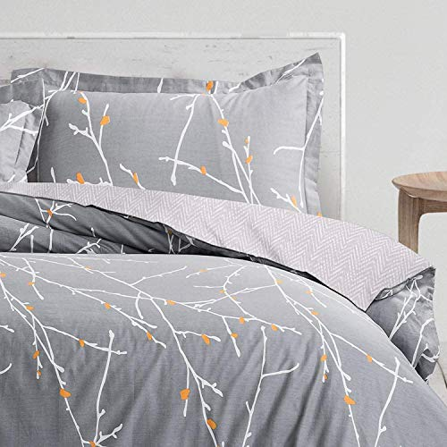 WedDecor Grey Duvet Cover Set Double, Tree Branch with Yellow Splinter Print Soft Microfibre Quilt Cover Set With Zipper Closure, Hypoallergenic Bedding Set with 2 Pillowcases - Double (200cm x 200cm)