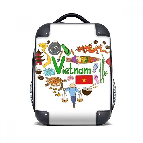 DIYthinker Vietnam Love Heart Landscap Nationalflagge Hard Case Schulter Kind-Rucksack-Geschenk 15