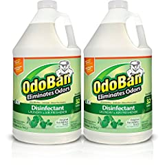 2 gallons of eucalyptus scent concentrate; each bottle makes up to 32 gallons of solution OdoBan, odor eliminator and disinfectant, eliminates unpleasant odors, cleans, disinfects, sanitizes and deodorizes household surfaces while leaving a fresh sce...