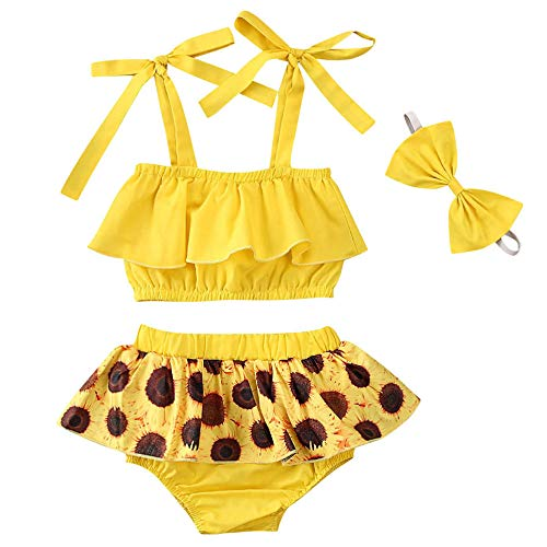 Newborn Baby Girl Sunflower Clothes Ruffle Strap Lace Up Crop Tops+ Bloomer Shorts Skirt+Headband 3PCS Outfit Set (Yellow, 12-18m)