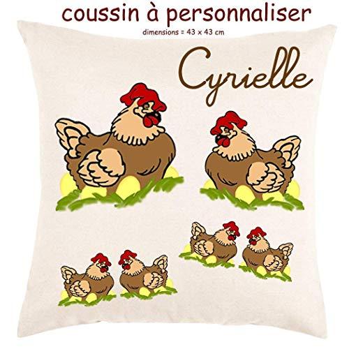 Coussin avec sa Housse Poule Toucher très Doux Personnalisable avec un Prénom Exemple Cyrielle