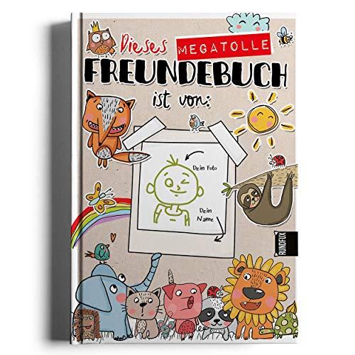 Mein megatolles Freundebuch mit beschreibbarem Cover für Vorder- & Rückseite für 21 Freunde in Kindergarten, Schule oder Verein in A5 zum kritzeln, malen und erinnern an die gemeinsame Zeit - RUNDFUX