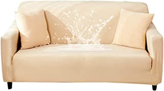 Hotniu Waterproof Stretch Sofa Slipcover - 1-Piece Stretchable Fabric Couch Cover - Flocked Pattern Fitted Couch Slipcover (2 Seater, Beige)