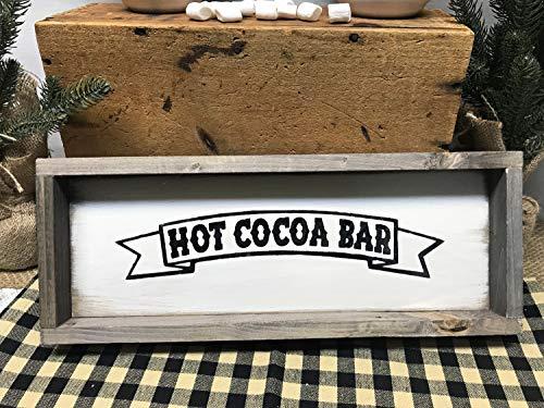 Ced454sy Hot Cocoa Bar Teken Hot Chocolade Teken Rustieke Ingelijste Teken Hot Cocoa Decor Boerderij Decor Winter Decor Hot Chocolade Decor Chocolade