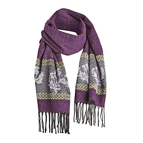 Catalog Classics Women's Celtic Thistle Scarf - Purple Wrap with Fringe