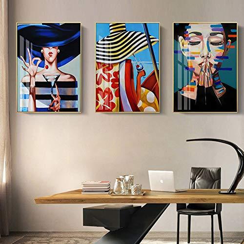 Wandkunst Leinwand Charakter Malerei Wandbild Farbe Schönheit drucken Wohnzimmer Wohnkultur,Rahmenlose Malerei-60X90cmx3