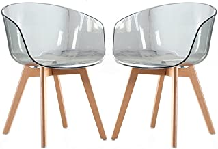 2Pcs Transparent Chair Dining Chair with Solid Wood Legs Simple Modern Leisure Clear Scandinavian Chair Hotel Armchair Caf...