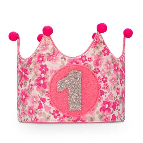 Kembilove Corona Primer Cumpleaños para Bebe – Corona Infantil de tela decoración cumpleaños niña – Corona Flores rosa Primer Cumpleaños para Niño y Niña Smash cake para sesión fotográfica