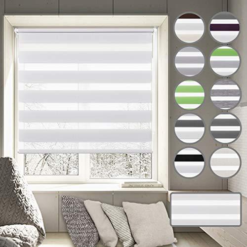 Doppelrollo klemmfix ohne Bohren Sonnenschutzrollo Duo Rollo 50 x 100 cm Weiß für Wohnzimmer, Arbeitszimmer, Büro, Bibliothek