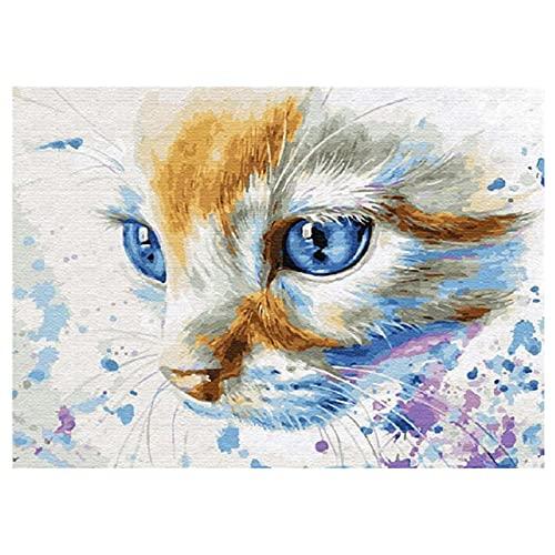 5D DIY Pintura Diamante Kits Color Animal Gato Diamond Painting Taladro Completo Adultos Rhinestone Bordado de Punto de Cruz Artes Manualidades Pared Decoración del Hogar Sala de Estar 50x70cm