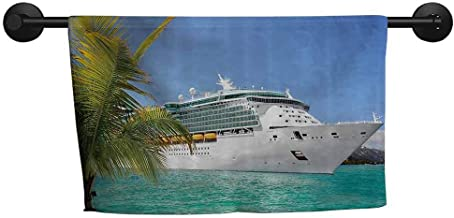 ZSUO Easter Towel W 28 x L 12(inch) Anti-Fade Towel,Cruise Ship Decor Collection,Cruise Ship Sailing from Port Vacation Tropic Relaxation Traveling Sunshine Maritime View,Aqua