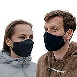 ALB Stoffe® Shield Pro Anthrazit, Mund-Nasen-Masken für Erwachsene, antimikrobiell, 100% Made in Germany, Ökotex, Mundschutz waschbar, doppellagig, 2er Pack