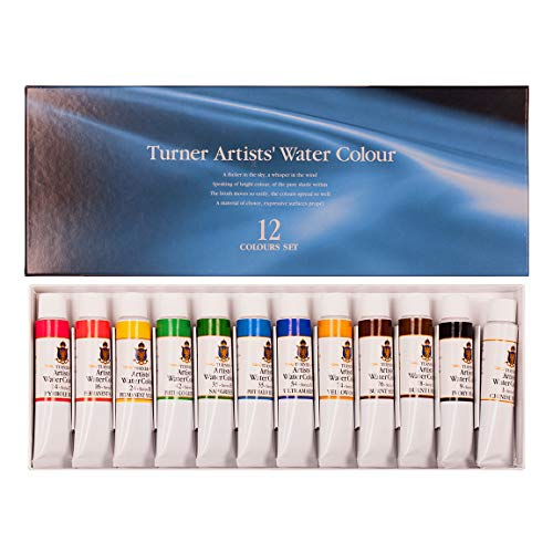 Turner Colour Works Paint Set Professional Artists' High Pigment Concentrated Watercolor Paint Set [Set of 12] 15ml Tubes - Assorted Colors