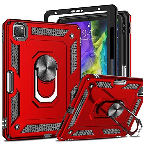 LeYi Funda para iPad Pro 11 2020 2th Gen & 2018 1th Gen con [2 Unidades] Cristal Templado, Armor Carcasa con 360 Grados Anillo Soporte Hard PC Silicona TPU Bumper Antigolpes Doble Tablet Case,Rojo