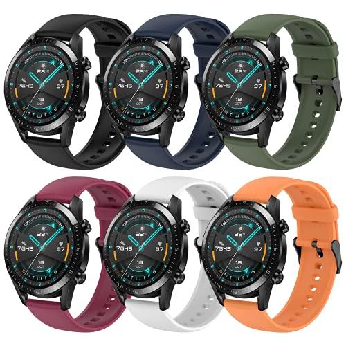 Hatolove Correas para Huawei Watch GT2/GT2 Classic/GT2 Pro 46mm, Compatible con Huawei Watch GT 2e/GT Sport Active 46 mm/Galaxy Watch 3 45mm/Galaxy Watch 46mm, Correa de Repuesto de Silicona de 22 mm