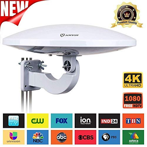 UFO 360° Omni-Directional Reception Outdoor TV Antenna 65 Miles Range with Smartpass Amplified & Built-in 4G LTE Filter (Renewed)
