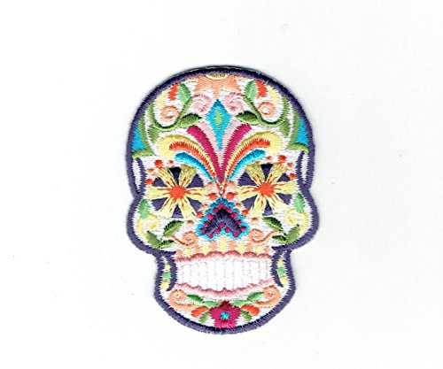 White Sugar Skull - Blue/Yellow Flower Eyes- Day of The Dead - Dia De Los Muertos - Iron on Embroidered Patch
