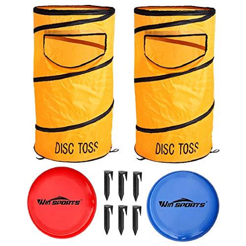 Win SPORTS Folding Disc Toss Game Set丨Flying Disc Toss Dunk Game Set丨Includes 2 Disc Targets with Bean Bag & 2 Flying Discs & Carrying Case丨Great for Backyard,BBQs,Tailgating
