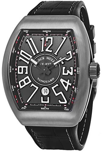 Franck Muller Vanguard Mens Titanium Automatic Watch - Tonneau Grey Face with Luminous Hands, Date and Sapphire Crystal - Swiss Made with Arabic Numerals V 45 SC DT TT BR NR