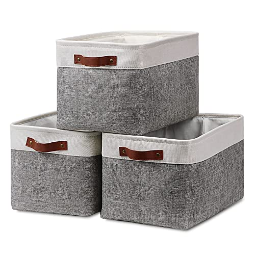 Fabric Storage Baskets for Shelves(3 Pack) Large Collapsible Storage Baskets for Organizing, Decorative Baskets Bins Set with Handles for Closet, Clothes, Toy, Home(White&Gray,15
