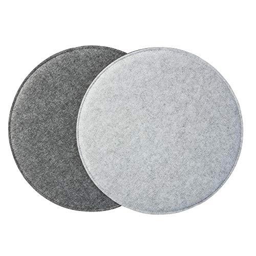 Gepolstertes Stuhlkissen 'ø34cm' zweifarbig, hellgrau/grau (Farbe & Form wählbar) | Rundes Sitzkissen aus Filz (2er Set)