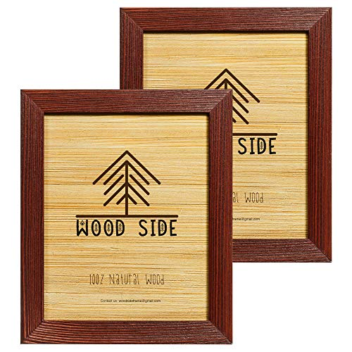 Rustic Wooden Picture Frames 8x10 - Brushed Cherry - Set of 2 - Natural Eco Solid Wood and High Definition Real Glass for Wall Hanging and Tabletop Photo Frame