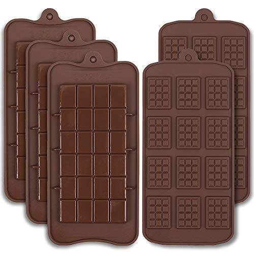 Cozihom Lot de 5 moules à chocolat en silicone de qualité alimentaire - Pour barres de cocao et protéines de bonbons