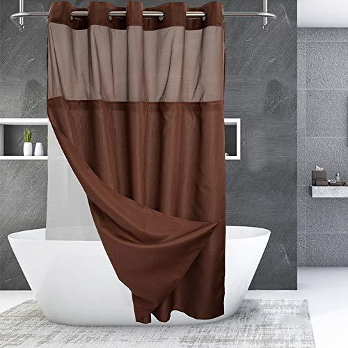 Duschvorhang mit einrastbarem PEVA-Innenfutter, Hotel-Stil mit transparentem Fenster, maschinenwaschbar & wasserabweisend, Schokoladenbraun, 71 x 74 cm
