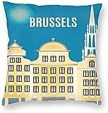 Stad Gebouw Poster Brussel België Kaart Reizen Kussensloop