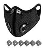 AmyGline Outdoor-Mundschutz mit 6 Aktivkohlefilter,Atemventil,Waschbar,Wiederverwendbare,Gesichtsschutz für Motorrad Radfahren Laufen (Unisex, 1PC+6Filtern)