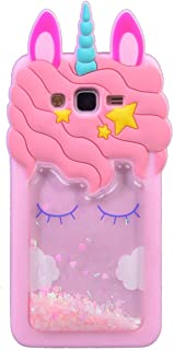 iFunny Cute 3D Cartoon Animal Quicksand Unicorn Cover,Bling Stars Shockproof and Protective Soft Phone Case for Samsung Ga...