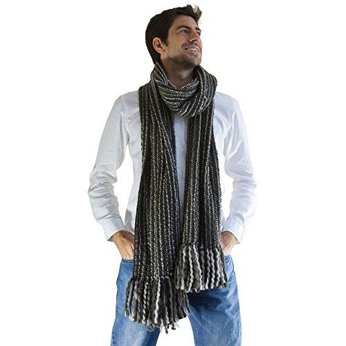 Bufanda de lujo a rayas extra larga y gruesa - Hecho a mano y cálido - Gris