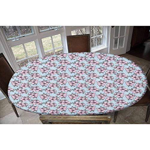 Cherry Blossom Elastic Polyester Fitted Table Cover,Fresh Floral Garden Theme Springtime Oriental Nature Ornaments Decorative Oblong/Oval Elastic Fitted Tablecloth,Fits Tables up to 48' W x 68' L