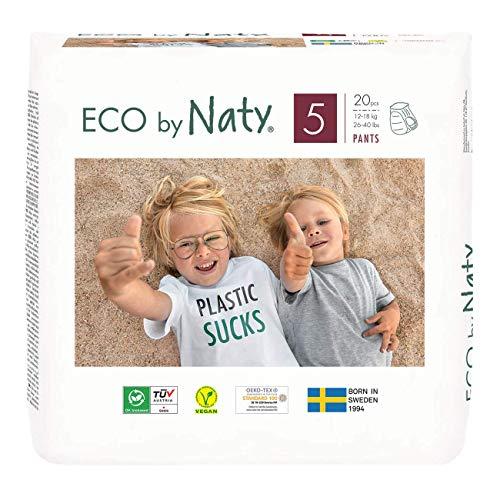 Couches-culottes d'apprentissage Eco by Naty, Taille 5, 80 couches, 12-18 kg, Un mois d'utilisation, Couches écologiques premium à base de végétaux sans produit chimique nocif