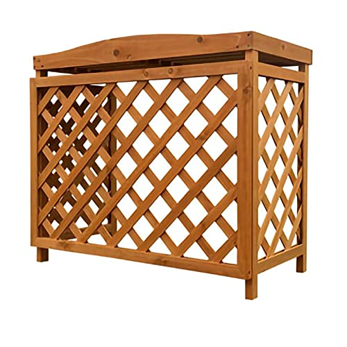 PTY Air Conditioner Fence Screen Flower Stand Conditioning Shell Blinds Wooden Air Conditioning Cover Outdoor Plant Storage, Wooden Air Conditioner Outer Frame
