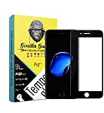 Gorilla guard's HD+ Black bezled 3D tempered glass screen protector for Apple iPhone 8+ Plus 5.5inch (Pro series) 8H hardness, oleophobic, UV protect, 2.5D rounded edges, neo coated, free installation kit.