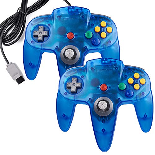 2 Pack Retro N64 Controller, kiwitatá Classic N64 Remote Wired Game Pad Controller Replacement Joystick for N64 Console Clear Blue
