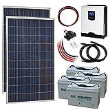 Sistema completo de energía solar fuera de la red de 550 W 24 V con 2 paneles solares de 275 W, inversor híbrido de 3 kW y 4 baterías de 100 Ah