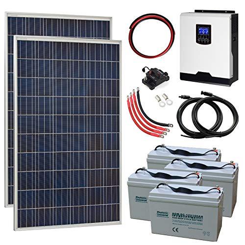 550W 24V Sistema de energía Solar Completo con 2 Paneles solares de 275W, inversor híbrido 3kW y 4 baterías de 100Ah