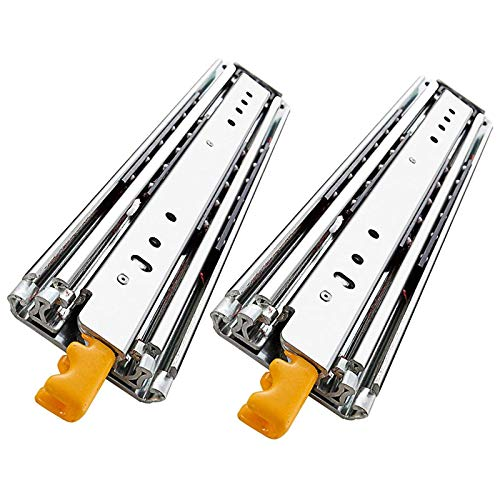 Drawer Slides Heavy Duty Runners with Lock 3 Folds Full Extension Rails Side Mount Ball Bearing Rail 220kg Bearing Capacity, 1 Pair